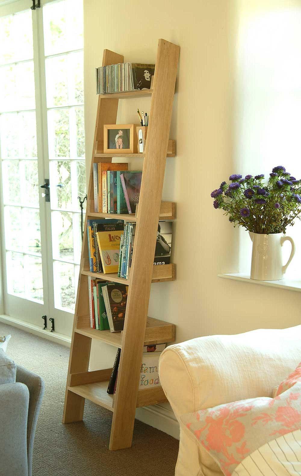 Oak book shelf wooden ladder shelf wooden ladder and shelving