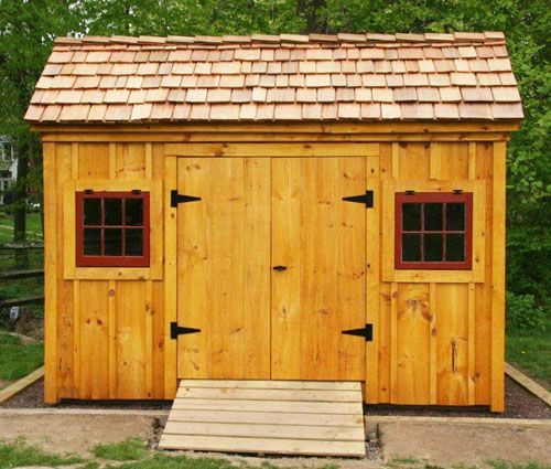 Best 8X12 Saltbox Shed Example Shows Optional Red Cedar Shake Shingle Roof Dark Red Window Paint 640 x 480