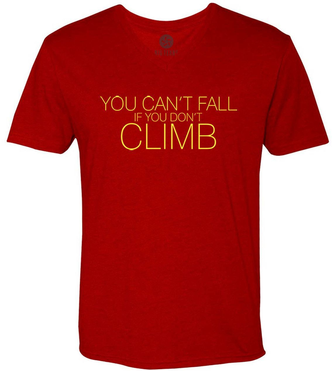 Cant Fall if You Dont Climb (Yellow) Short-Sleeve V-Neck T-Shirt