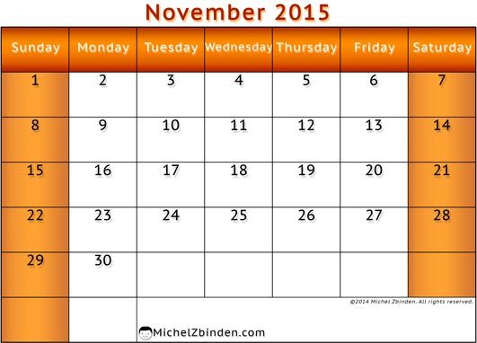 Feel Free to Download Nov 2015 Printable Calendar and November ...