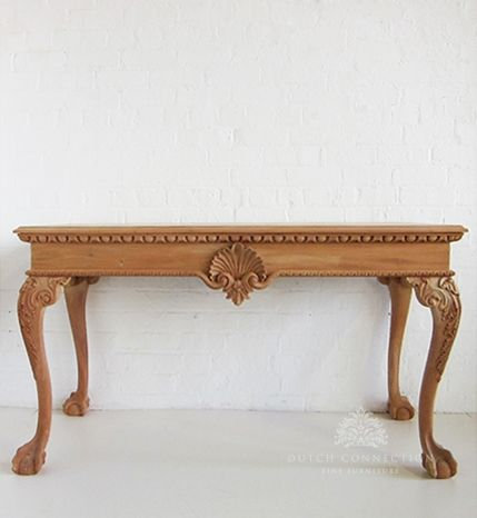 Traditional Chippendale Hall Table Shell Console Table
