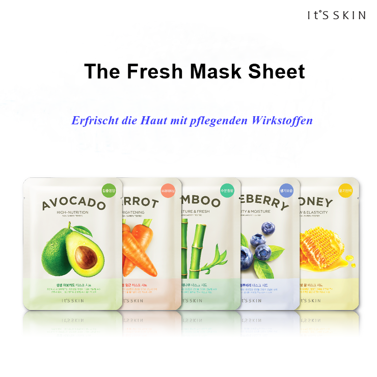Entdecke *The Fresh Mask Sheet* von IT'S SKIN für den perfekten Glow! Es gibt sie in den Sorten: Avocado, Carrot, Bamboo, Blueberry und Honey.  Mehr erfahren unter: https://www.seemyskin.de/maske/ #seemyskin #itsskin #itsskinofficial #itsskindeutschland #kbeauty #sheetmask #masksheet #tuchmaske #gesichtsmaske #koreanischehautpflege #koreanischekosmetik #koreanbeauty #koreanskincare #facemask #kbeautyblogger #beautyblogger #beauty #schönheit