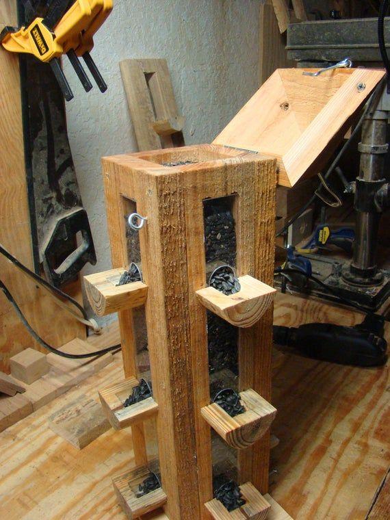 Handmade rustic cypress wood bird feeder finch feeder and cardinal bird feeder use as hanging bird feeder or can be post mounted