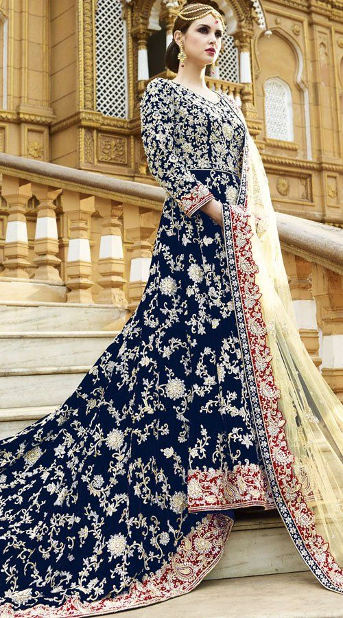 Designer Navy Blue Velvet Indian Bridal Gown Bridal Bridal Gowns