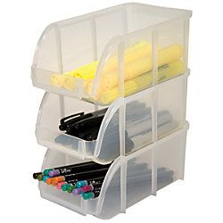 Innovative Storage Designs Mini Stacking Bin Small 3 H X 4 18 W X 7 18 D  Clear By Office Depot U0026 OfficeMax