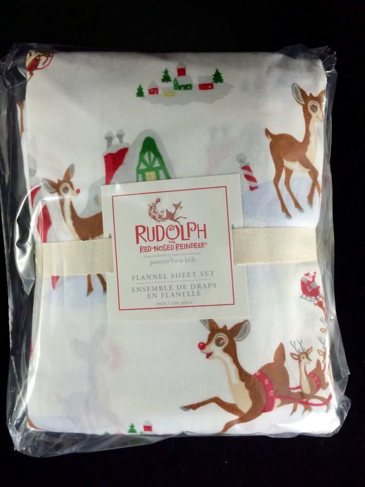 Pottery Barn Kid Rudolph Red Nosed Reindeer Twin Flannel Sheets New Christmas Potterybarnkids