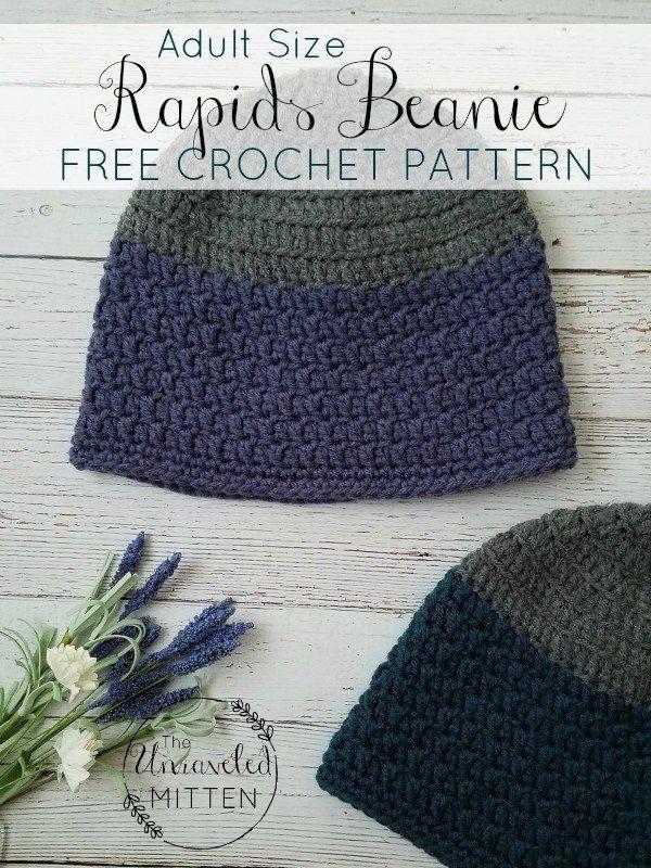Rapids Beanie Free Crochet Pattern Adult Sizes Easy Crochet