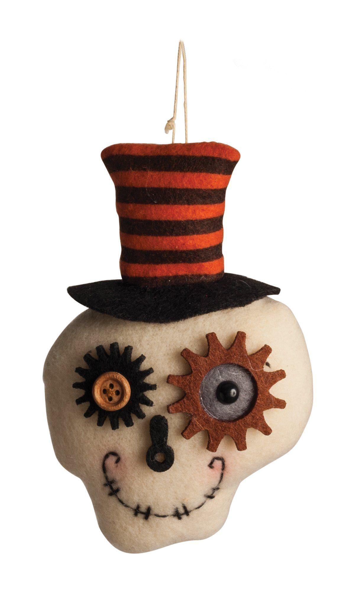 Plush Top Hat Skull Ornament Halloween Prop Halloween
