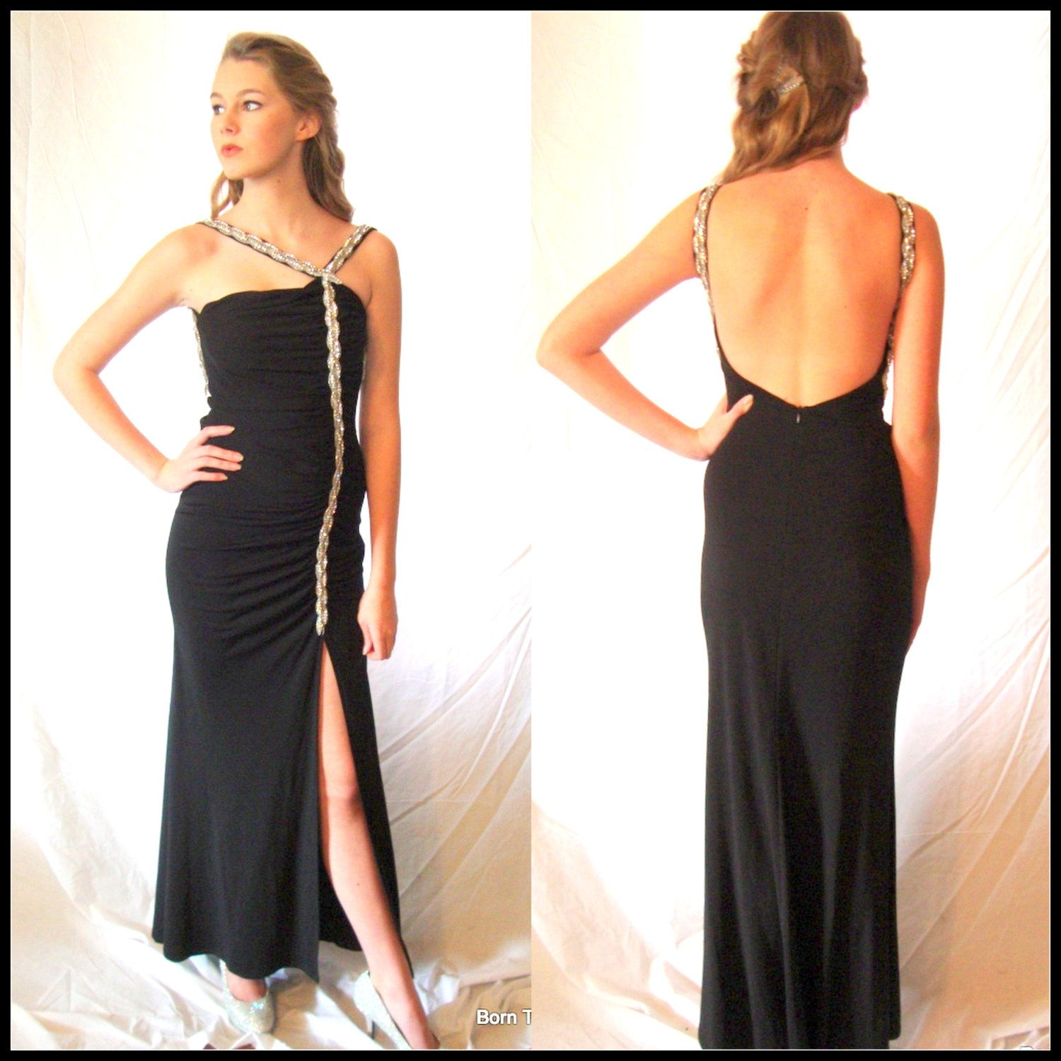 Vintage black evening gown prom gownsexy glamour ultra fitted