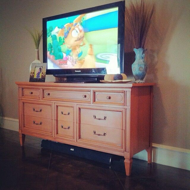 Chalk Painted Dresser For Tv Stand