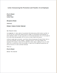 Promotion And Transfer Announcement Letter Of An Employee DOWNLOAD At  Http://writeletter2.  Promotion Announcement Samples