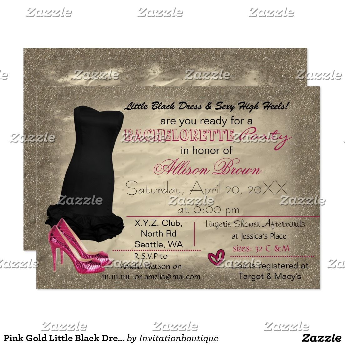 Pink Gold Little Black Dress bachelorette invite | Bachelorette ...