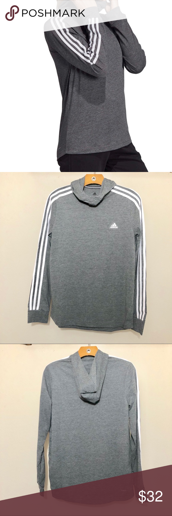 Adidas Hoodie Grey White Pullover Cowl Neck Med Authentic Adidas Ladies Long Sleeve Classic Three Stripe Li Adidas Hoodie Women Adidas Hoodie Hoodies Womens [ 1740 x 580 Pixel ]