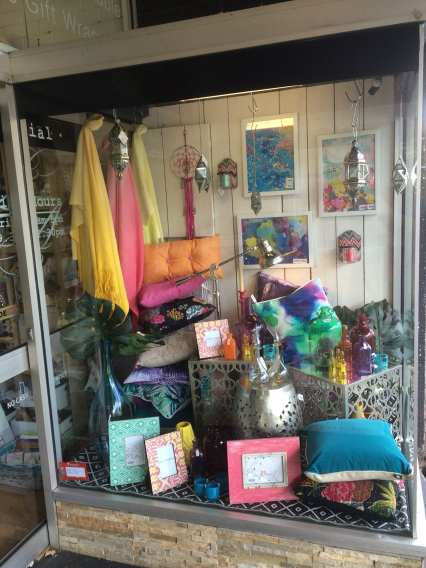 Crazy bright modern Moroccan inspired window shop display