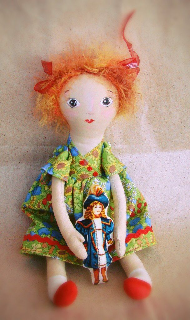 my doll sewn from calico, painted by hand, exact repetition is impossible.