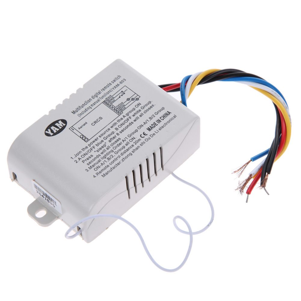 3-Way Port ON/OFF 220V Lamp Light Wireless Remote Control Switch ...