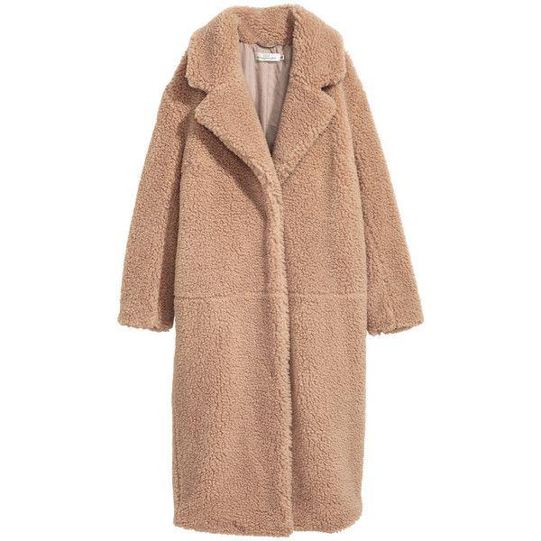 Langer mantel aus teddyfleece