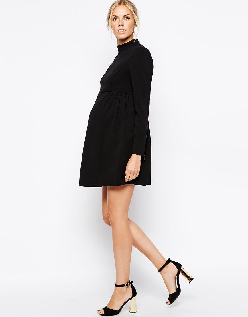 2356f8f505dba Maternity Funnel Neck Swing Dress with Zip Cuffs | pazé | Maternity ...