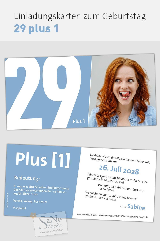 Witzige Und Moderne Einladungskarten Zum 30 Geburtstag Sagen Sie Es Einfach Mit 29 Plus 1 Geburtstag Feiern Ideen 30 Geburtstag Feiern Spruch 30 Geburtstag