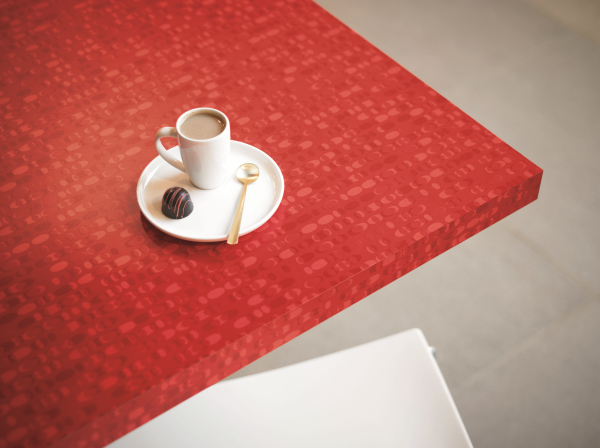 Formica Laminate In 1913 Red Ellipse Adds A Pop Of Color To The