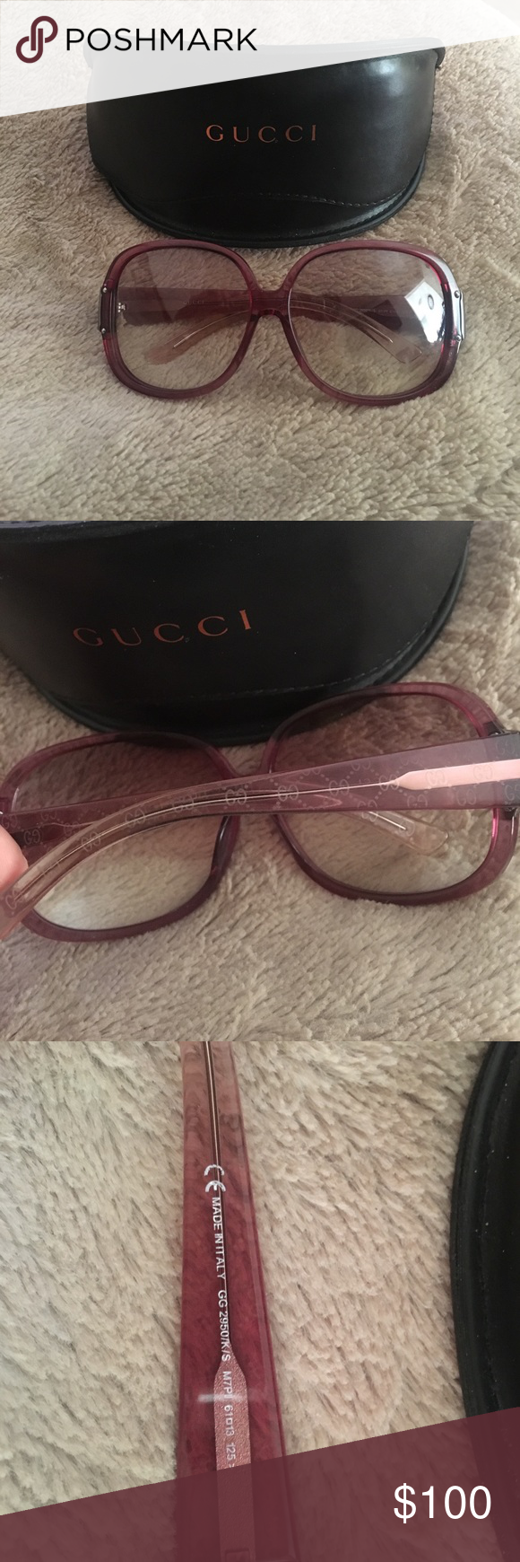 Gucci sunglasses Gucci sunglasses a couple minor scratches but not noticeable comes with box and cleaning cloth still in great condition. Gucci Accessories Glasses