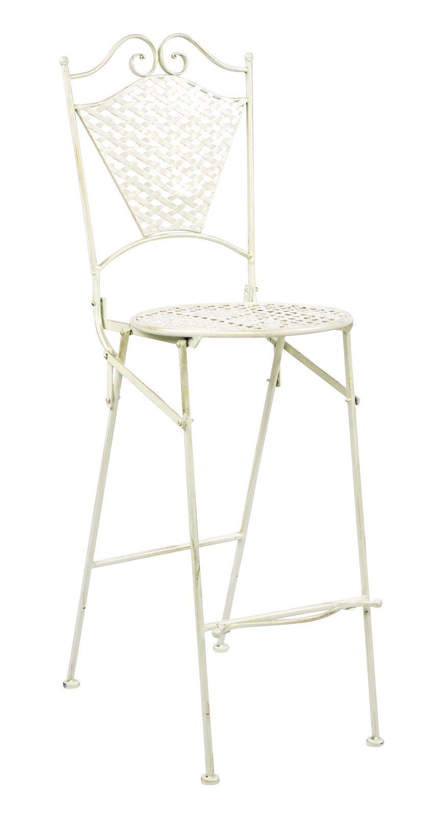 Wunderschöner Gartenstuhl in weiß aus Eisen im Antik-Stil ...