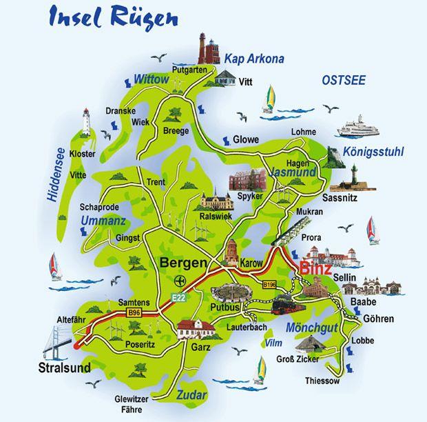 Ostsee Karte Rügen.Pin Von Elke Auf Ostsee Nordsee Insel Rügen Karte Urlaub Rügen
