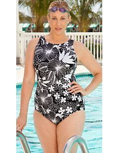 6cc0d05de9e Aquabelle Black and White Floral High Neck Swimsuit. Plus Size SwimsuitsCheap  ...