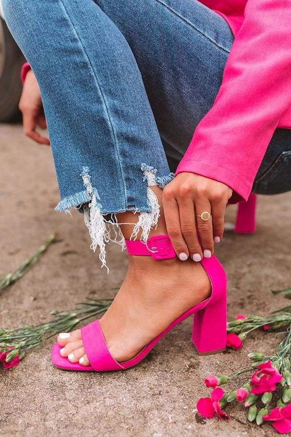 The Ariella Heel in Hot Pink