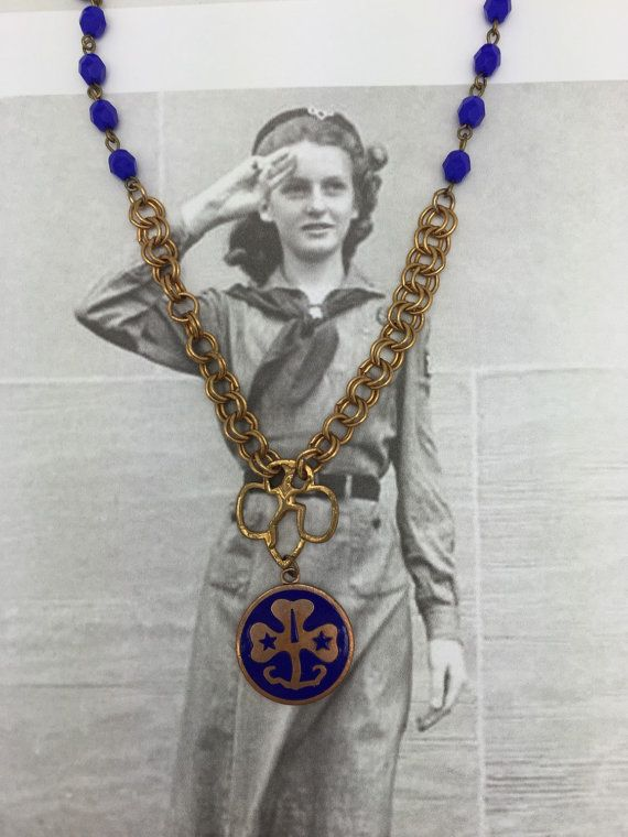 Repurposed Girl Scout Necklace vintage Girl Scouts by jeweledfaith