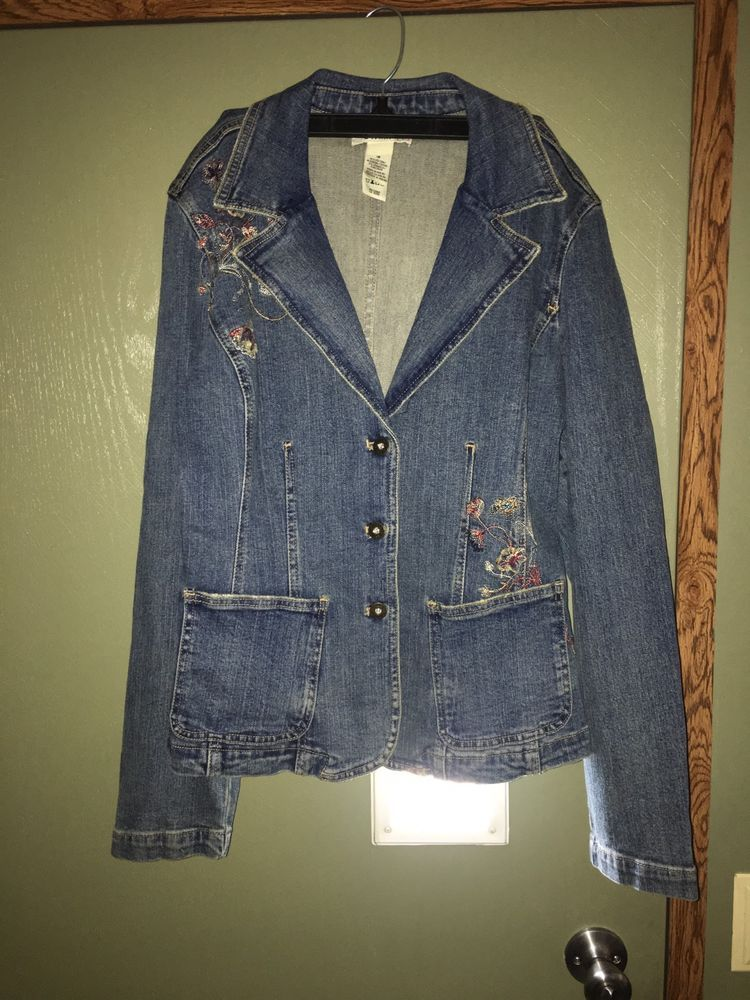 Details about Womens Stamp 10 Embroidered Denim Jacket Size 16 ...