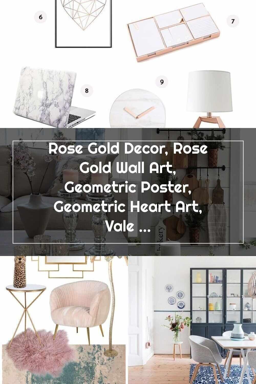 Home Accessories Rose Gold Decor, Rose Gold Wall Art, Geometric Poster, Geometric Heart Art, Valent