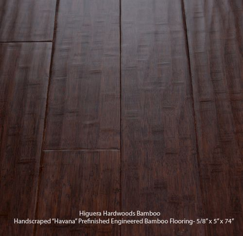 Higuera hardwoods dark stained havana handscraped wide for Engineered bamboo flooring
