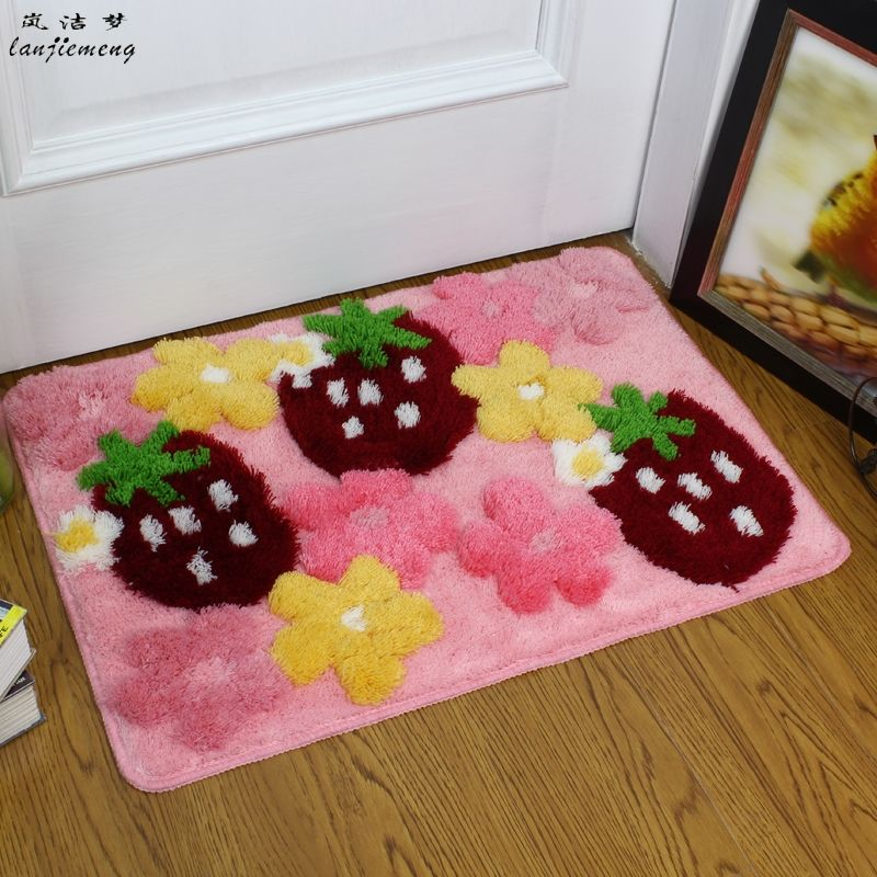 soft floor mats 3d strawberry flower printed bathroom kitchen carpets doormats floor mat for living room - Floor Mats For Living Room
