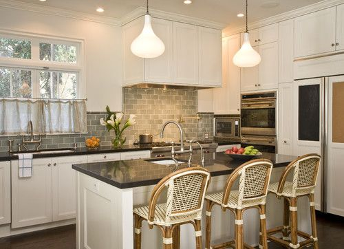 Earth Tone Backsplash Tile With White Cabinets, Black Countertops Part 87