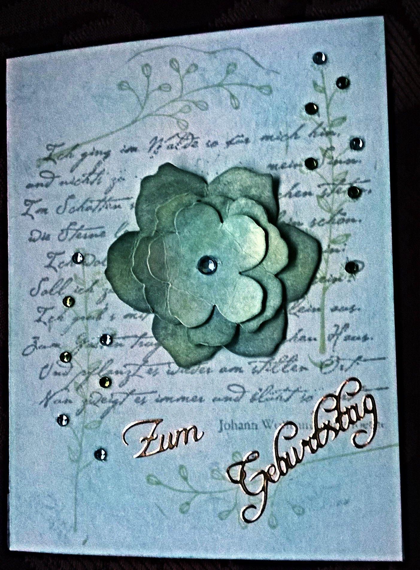 Mit Liebe gemacht von Petra Heinrich. Geburtstagskarte / Birthday card. Die Stanzen und Pflanzen-Stempel sind von Stampin up, der Schriftstempel ist von Heindesign.