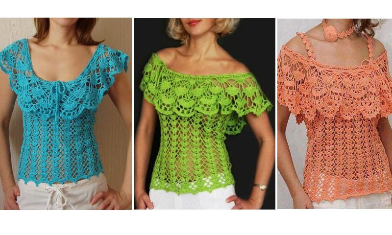 5eda1dec6 Magnifica blusa hecha en ganchillo. A todas les va a encantar !! Vea las  gráficos a continuación. Los gráficos  Facebook Pinterest