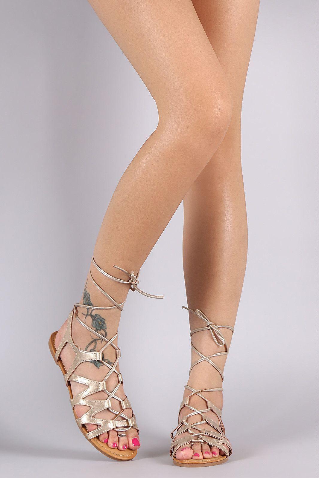 6f99d27c339 Bamboo Leg Wrap Lace Up Gladiator Sandal