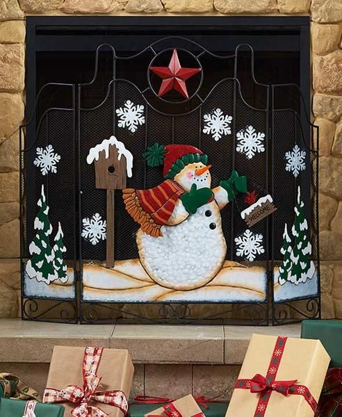 Christmas Fireplace Screen.The Freestanding Holiday Fireplace Screen Is A Wonderful Way