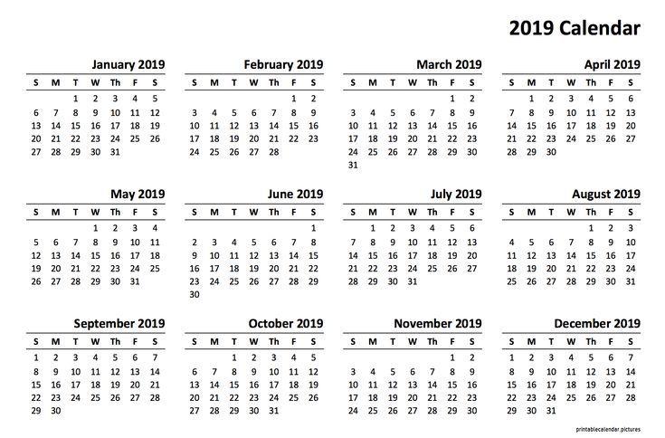 Kalendervorlage 2019 Kalender Pinterest