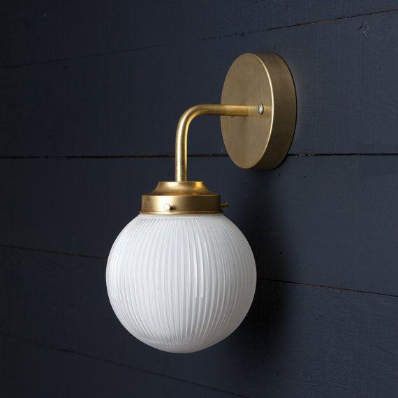 Holophane glass globe brass wall sconce luminaire for Globe luminaire