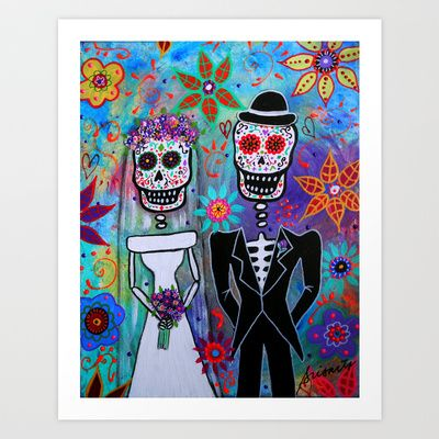 DAY OF THE DEAD WEDDING COUPLE PAINTING Art Print by Prisarts - $38.48