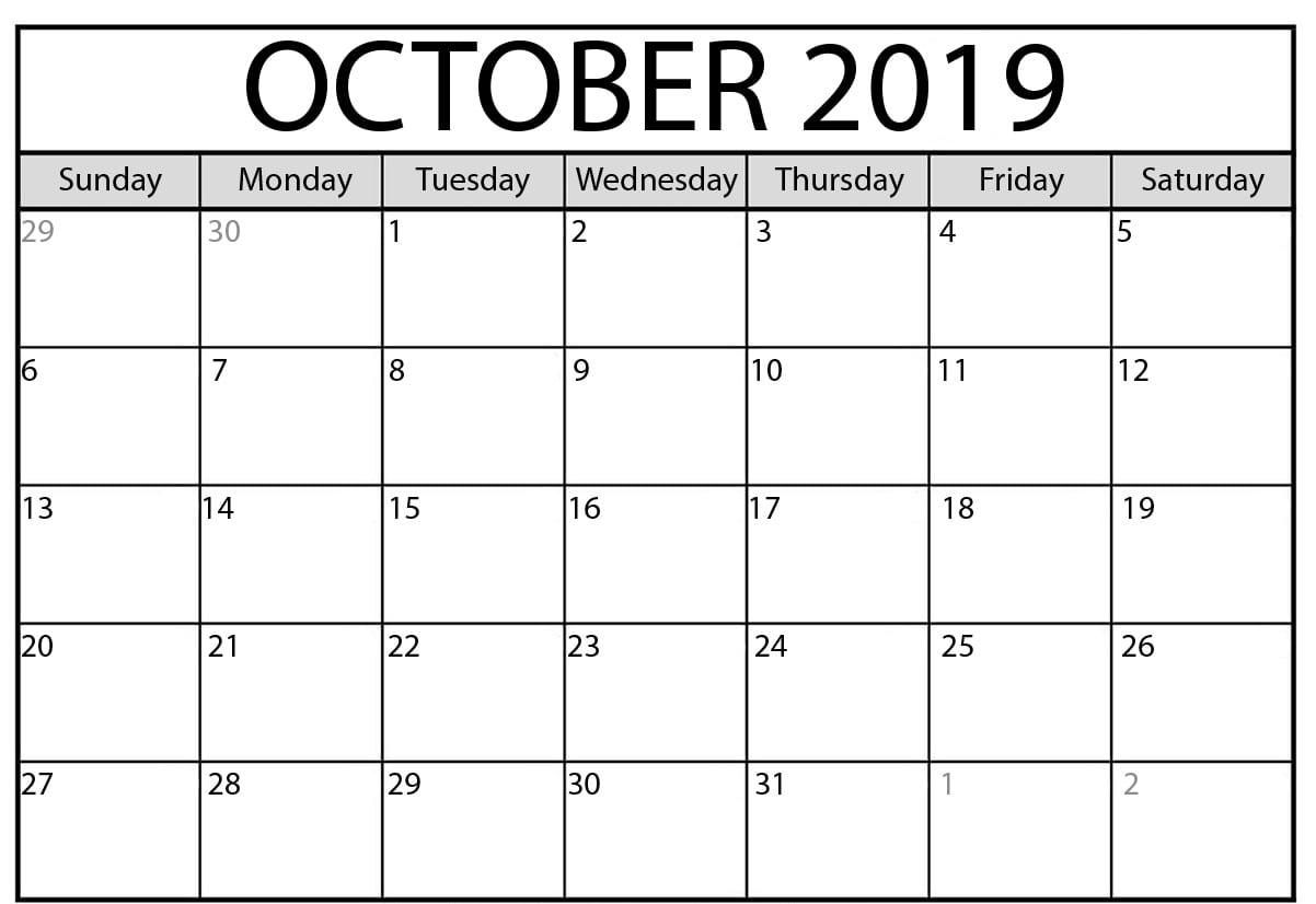 October 2019 Calendar Pdf Word Excel Printable Template