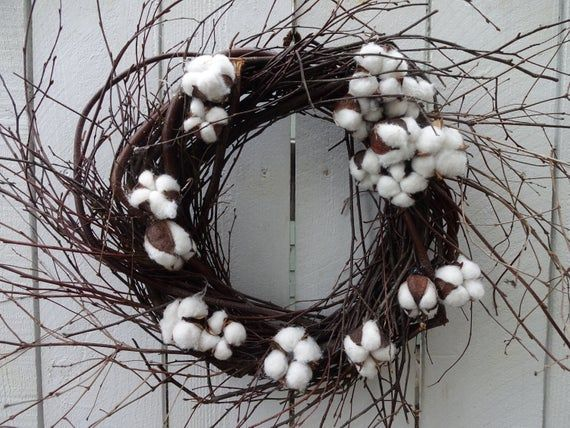 Photo of Cotton Wreath  Cotton Blossom Wreath Birch Wreath  Twig Wreath  Wall Decoration Hostess Gift  Hand Crafted Wreath  Natural Wreath