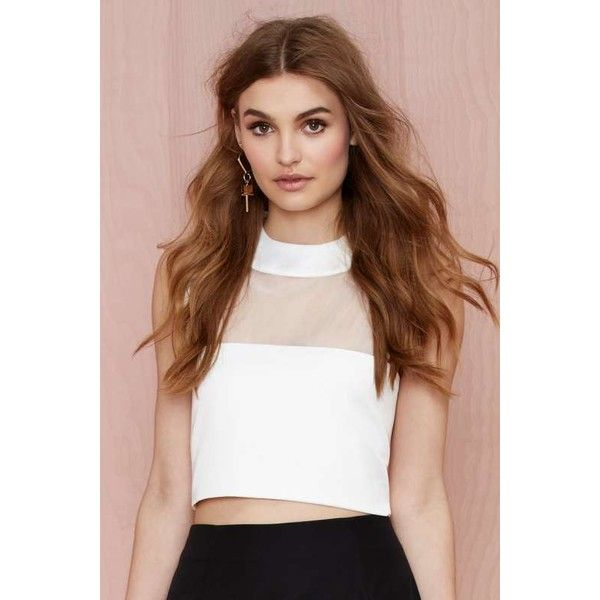 Solace London Lowry Crop Top (€36) ❤ liked on Polyvore featuring tops, white, structured crop top, structured top, going out tops, white crop top and night out tops
