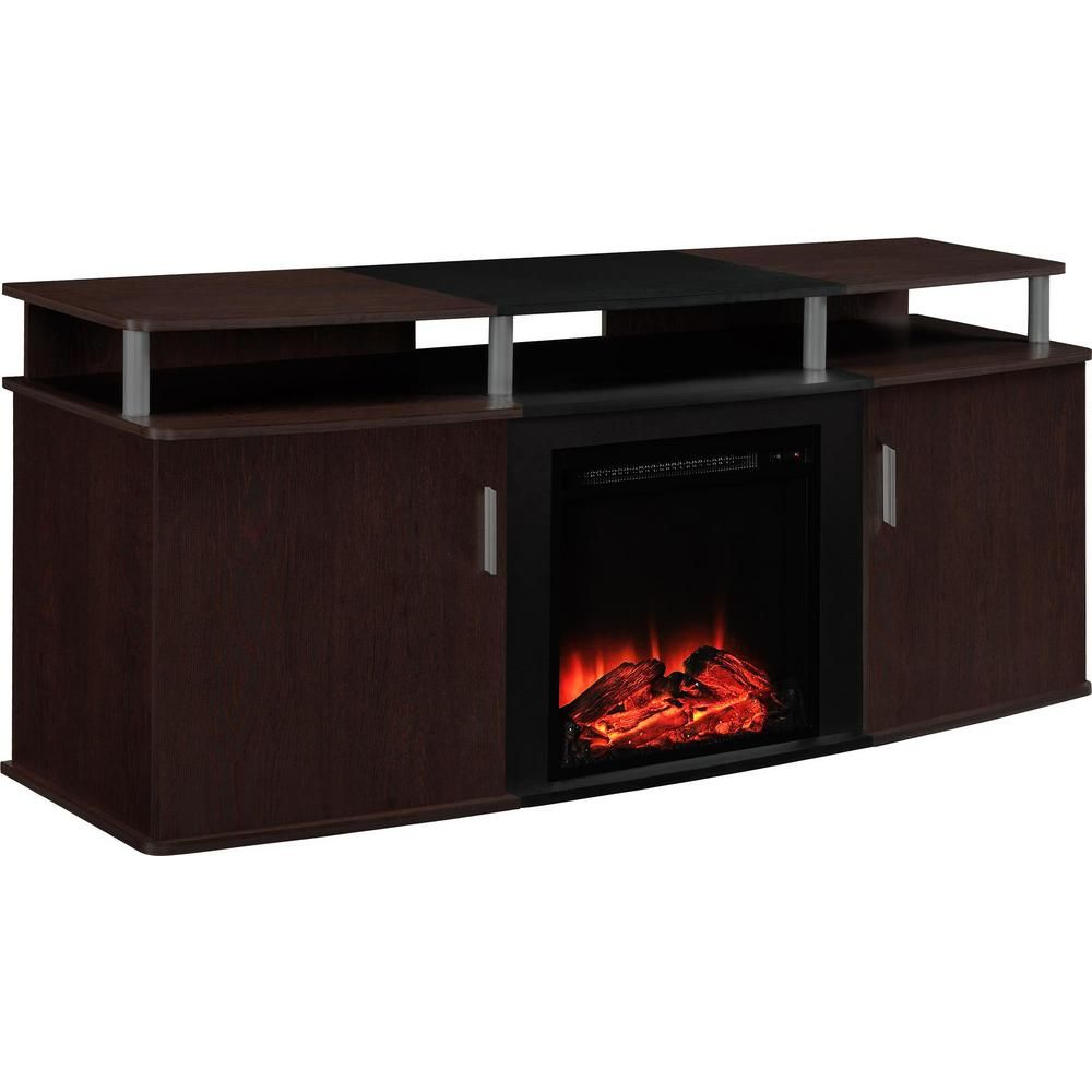 Fireplace Tv Stand Home Depot Ameriwood Home Cherry And Black Winsdsor 70 In Tv Stand With