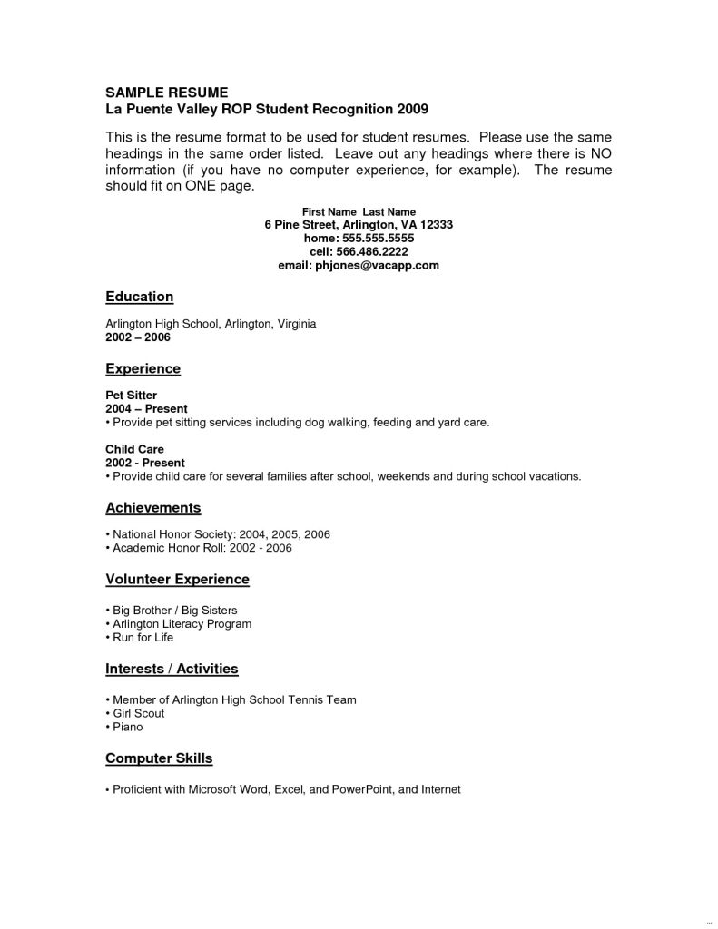 Youth Central Resume No Experience Student Resume Template Job