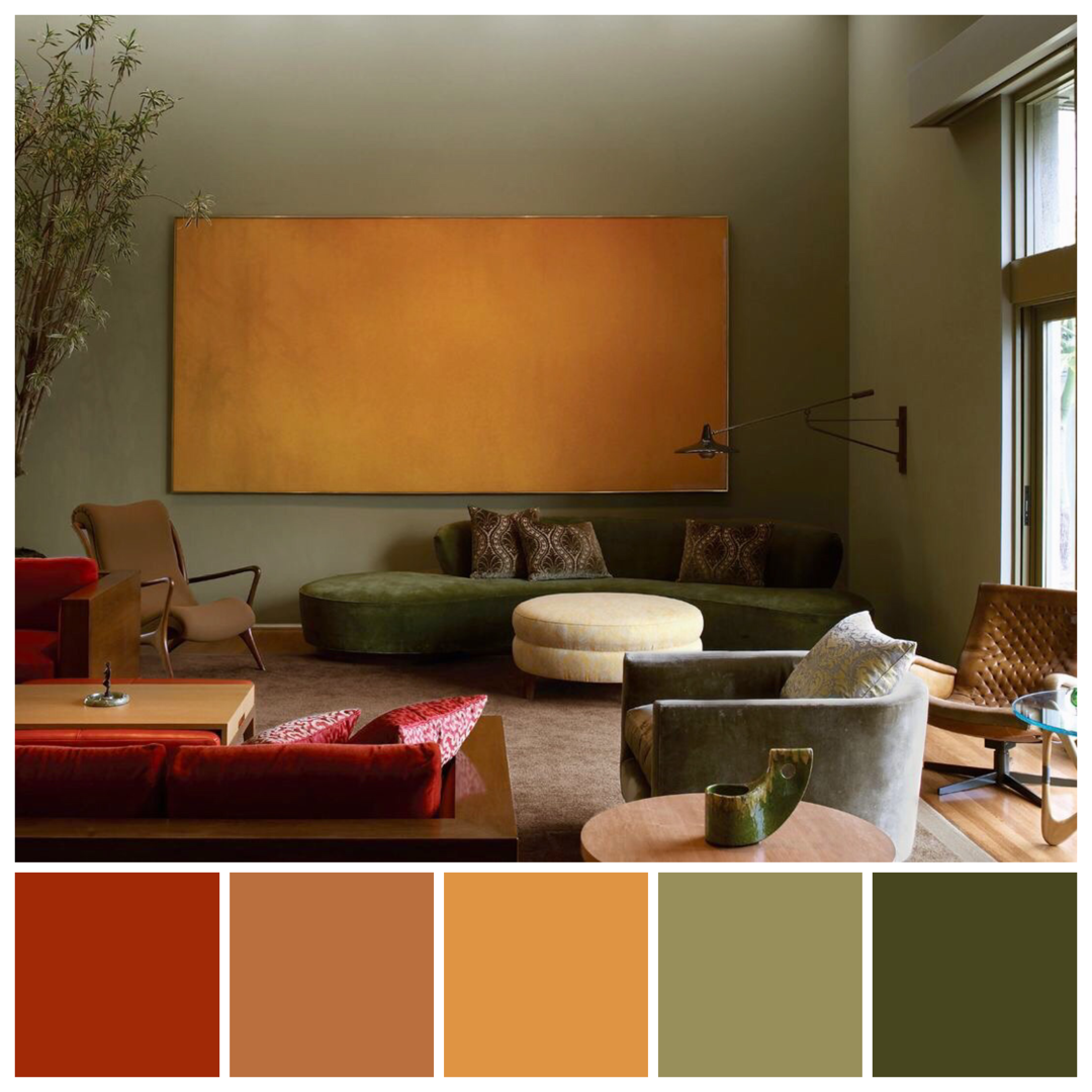 Kay Kollar Design Harold English House Features Hues Drawn From The Forest Palett Green Living Room Color Scheme Green Room Colors Living Room Color Schemes
