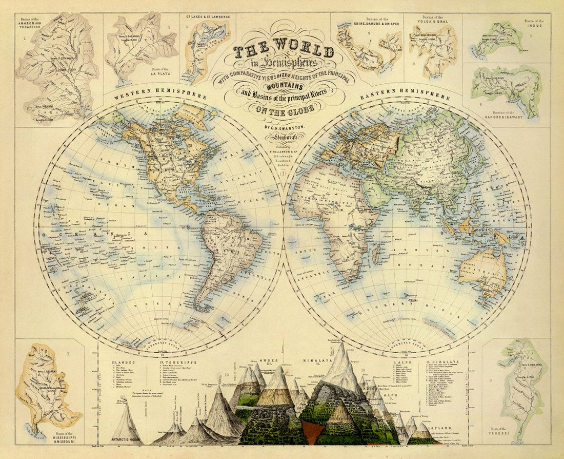 Map of the world vintage map of the world world map poster mapoftheworldvintagemapofthe gumiabroncs Image collections