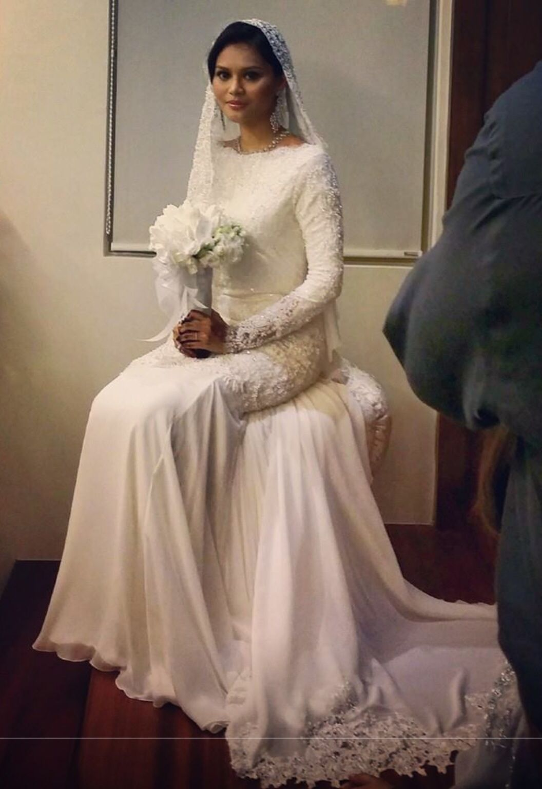 Malay wedding reception gown simple beauty hijab bride
